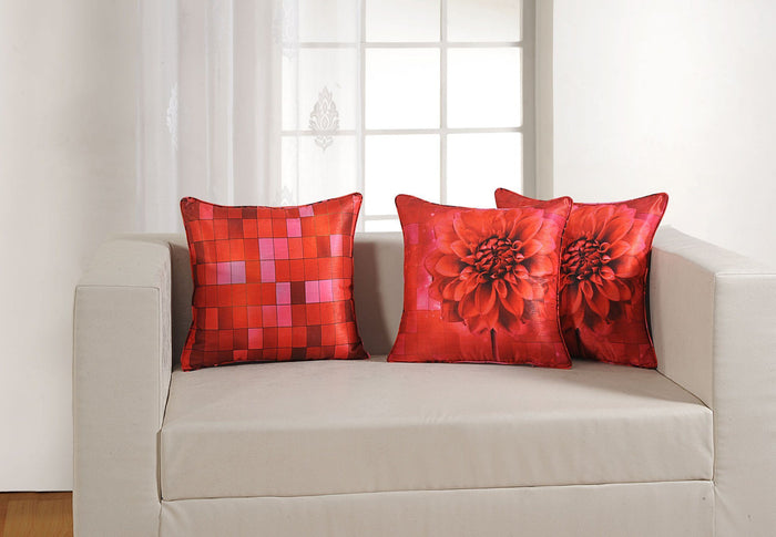 RED FLOWER CUSHION COVER