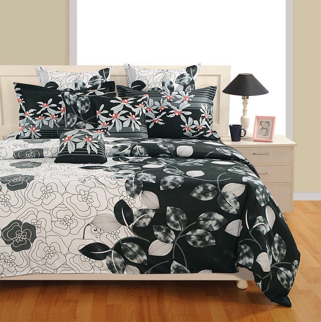Canopus Black And White Floral Duvet Cover Bedding Set Flickdeal