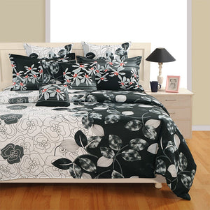 Canopus Black and White Floral Duvet Cover Bedding Set - Flickdeal.co.nz