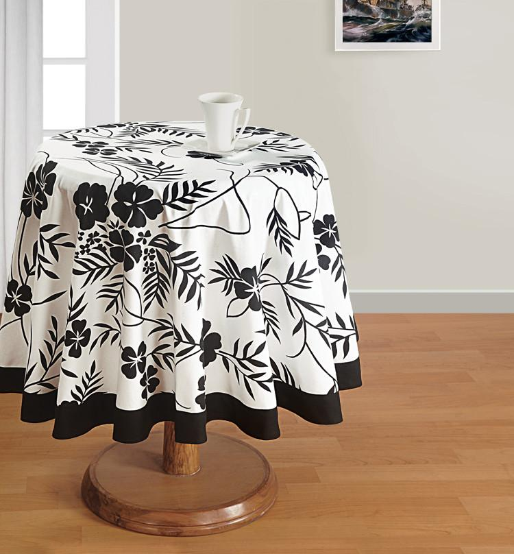 Black Floral Round Tablecloth - Flickdeal.co.nz