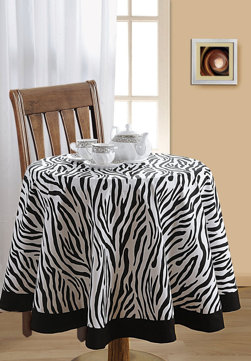 Black and White Round Table Cloth - Flickdeal.co.nz