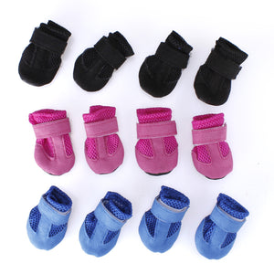 4Pcs Winter Warm Adjustable Pet Dog Puppy Mesh Shoes