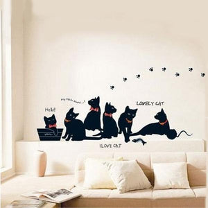 Removable Black Cat Family Wall Sticker Room Background Decor Wall Decal