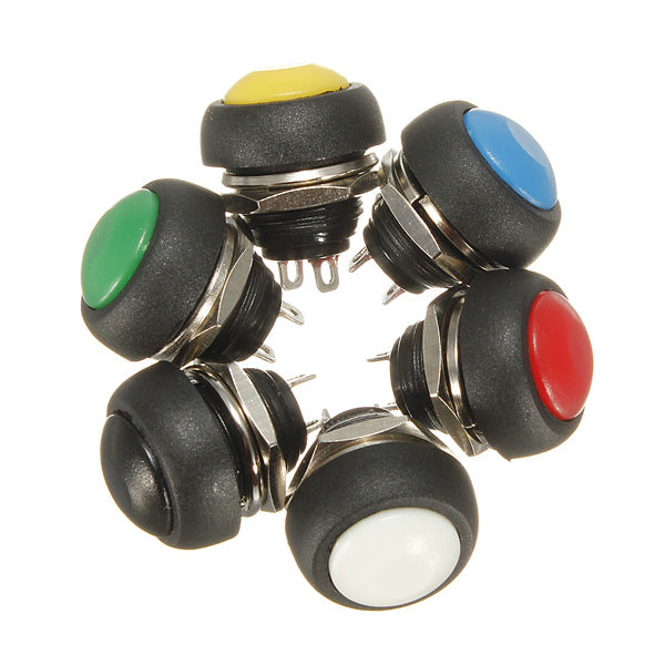 Car Auto Momentary OFF ON Push Round Button Horn Switch Multicolor