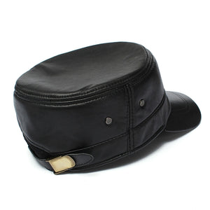 Men Leather Military Driving Sports Flat Cap Cadet Hat