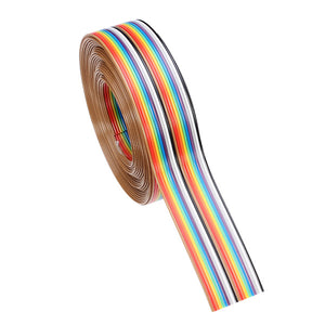 Geekcreit® 5M 1.27mm 20P Jumper Cable DuPont Wire Rainbow Flat Wire Support Wire Soldered