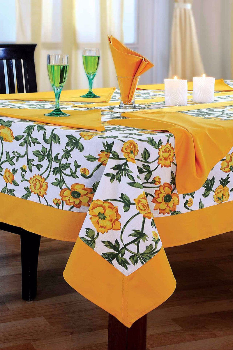 Yellow Floral Rectangular Table Cloth - Flickdeal.co.nz