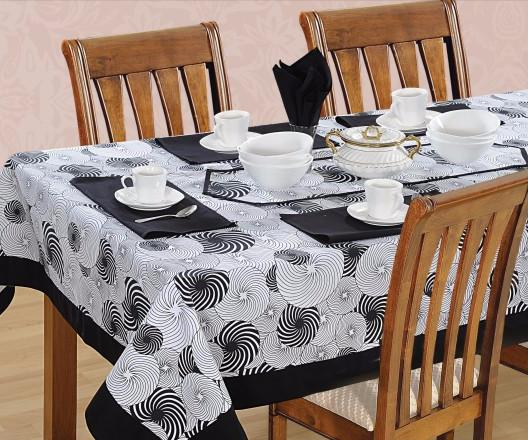 Black Swirl printed - Tablecloth - Flickdeal.co.nz
