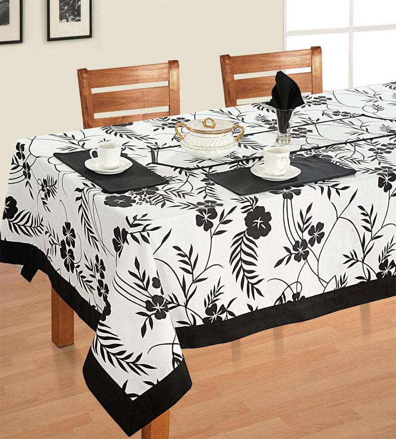 Black and White Floral - Tablecloth - Flickdeal.co.nz