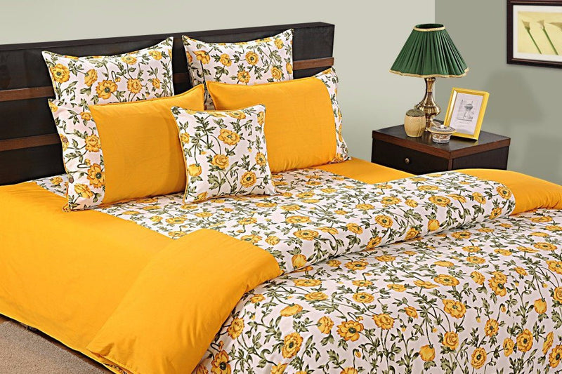 Canopus Yellow Floral Duvet Cover set - Flickdeal.co.nz