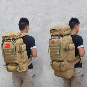 80L Expandable Waterproof Tactical Backpack Military Hiking Camping Backpack Outdoor Sports Climbing Rucksack