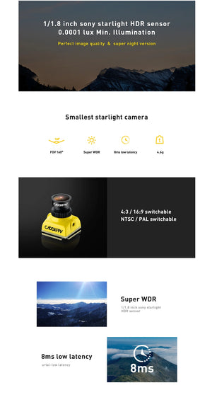 Caddx Baby Ratel FPV Camera 1200TVL 1/1.8'' Starlight HDR Sensor 0.0001 LUX Super Night Version with OSD 4.6g Ultra Light for FPV Racing Drone RC Plane