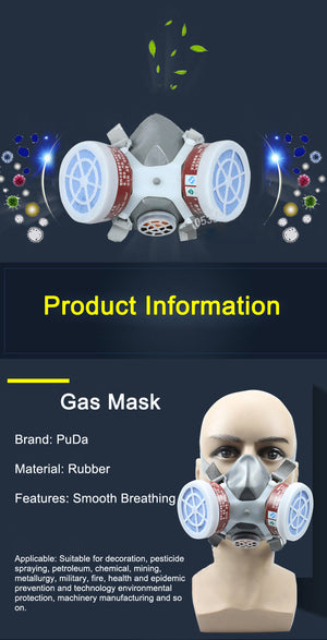 Safurance Respirator Gas Mask Safety Chemical Anti-Dust Filter Military Workplace Safety Protection