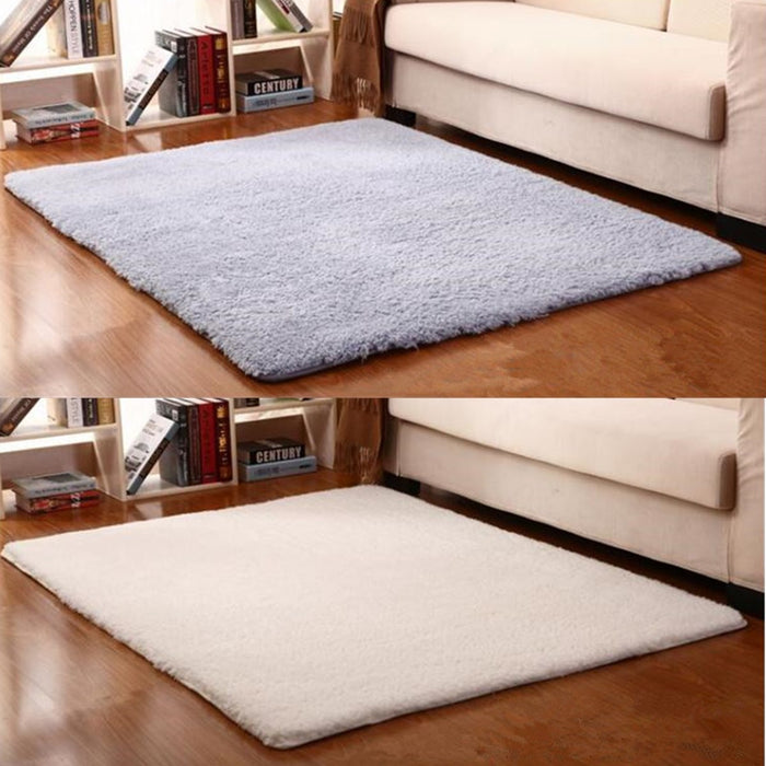 Modern Non-slip Polyester Carpet Area Rug Bedroom Linving Room Floor Bath Mat