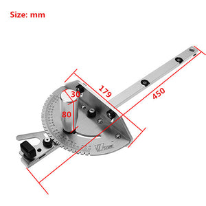 Drillpro 0-90 Degree 450mm Angle Miter Gauge Sawing Assembly Ruler Woodworking Tool for Table Saw Router