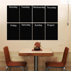 8pcs Black A4 Paper Chalkboard Wall Sticker Removable Blackboard With One Chalk Home Decal