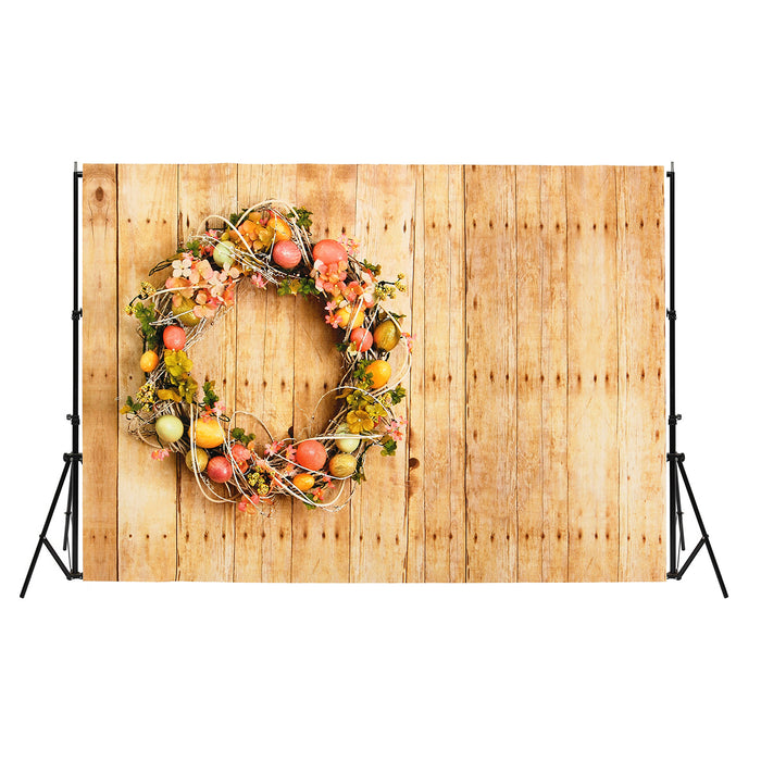 7x5ft/5x3ft Easter Egg Wood Board Thin Vinyl Photography Backdrop Background Studio Photo Prop