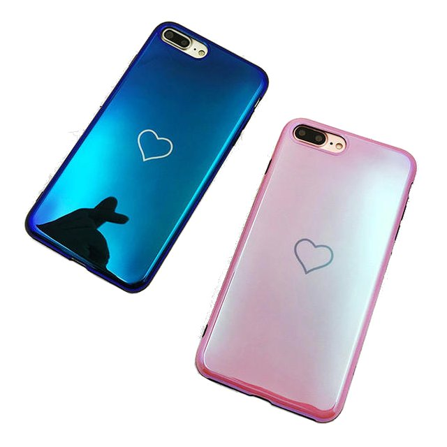 Blue Ray Laser Mirror Love Heart Soft TPU Protective Case for iPhone X/7/8 Plus/6/6s Plus