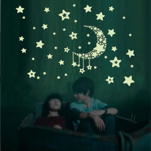 Miico Luminous Star and Moon Creative PVC Wall Sticker Home Decor Mural Art Removable Wall Decals