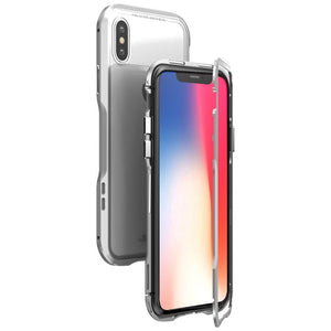 Luphie Magnetic Adsorption Metal+Tempered Glass Protective Case For iPhone X Clear Scratch Resistant