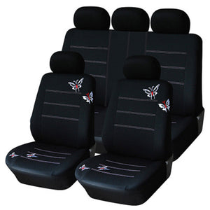 9Pcs Seasons Universal Car Seat Cover Black Embroidery Comfortable Breathable