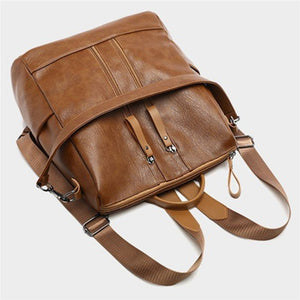 Leather Backpack Travel Camping Shoulder Bag Waterproof Cross body Rucksack School Bag Handbag