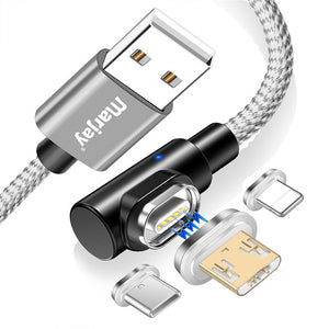 Marjay 3A Type C Micro USB Magnetic LED Indicator Fast Charging Data Cable For Huawei P30 Pro Mate 20X Mate 30 Xiaomi Mi9 9Pro S10+ Note10