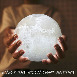 8cm Touch Sensor 3D Moon Table Lamp USB Color Changing LED Luna Night Light Kids Gift
