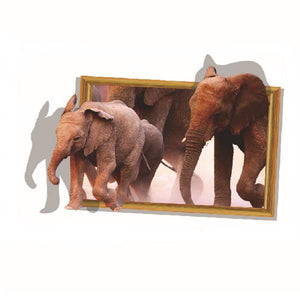 3D Elephant Walking Living Room Bedroom Animals Floor Background Wall Decor Creative Stickers