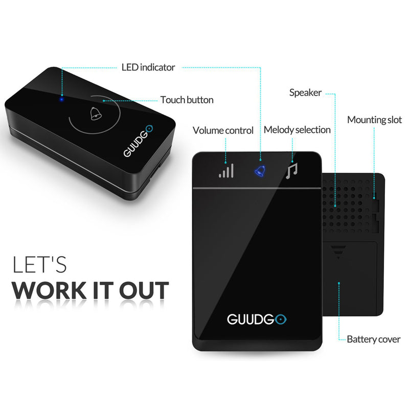 Guudgo GD-MD01 Wireless Touch Screen Music Doorbell Portable Waterproof Doorbell 52 Melody Chime