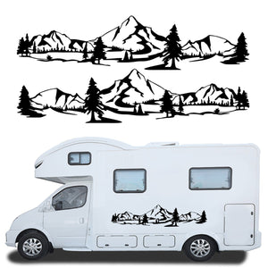 2PCS Side Body Stickers Decal Mountain Forest For Camper Van Motorhome Off Road Car