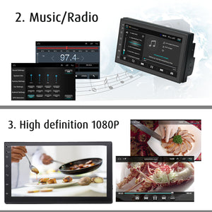 iMars 7 Inch 2 Din Car MP5 Player for Android 8.0 2.5D Screen Stereo Radio GPS WIFI bluetooth FM with Rear Camera