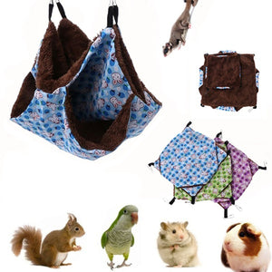 Pet Hammock Double-Layer Plush Fleece Soft Hanging Nest Sleeping Bed for Pet Home Decoration