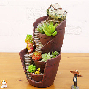 Double Layer Sky Garden Pot Craft Ornaments Flower Basket Planter Decoration