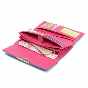 Women Hasp Long Wallets Girls Candy Color 15 Card Holder Purse Coin Bags