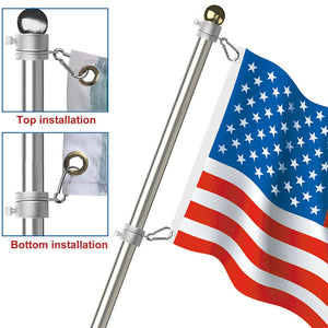 Aluminum Alloy Flag Pole Rings 360 Degree Rotating Flagpole Flag Mounting Ring Kit with Carabiner for 0.75-1.02Inch Flagpole