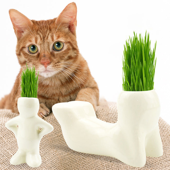 T-shaped Ceramic Art Creative Rye Cat Grass with Cat Grass Seed