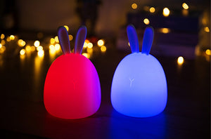 LUSTREON 1W USB Rabbit LED Night Light Silicone Pat Control Multicolor for Children Baby Moon Lamp