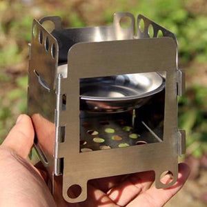 Outdoor Camping Wood Stove Picnic BBQ Cooking Furnace Wind Shield With Plate Cookware Utensil