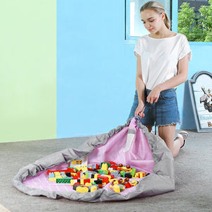Portable Floor Mat Kid Toy Oxford Foldable Storage Bag Drawstring Beam Port Finishing Organizer