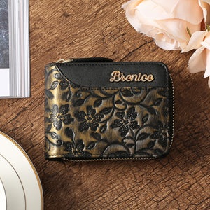 Brenice Women Emossed Floral 16 RFID Card Slots Retro Purse