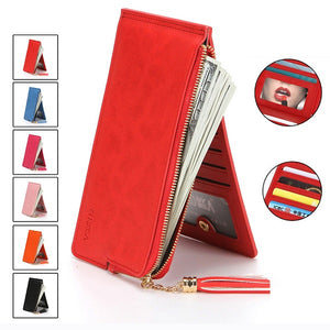 "Women PU Leather 14 Card Slots 5.5"" Phone Bag Wallet Card Holder With Mini Mirror"