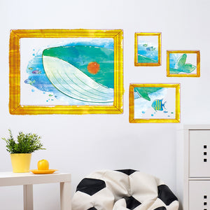 Lovely Cartoon Whale Watch Frame Kids Room Decorated Warm Wall Stickers 50*70CM