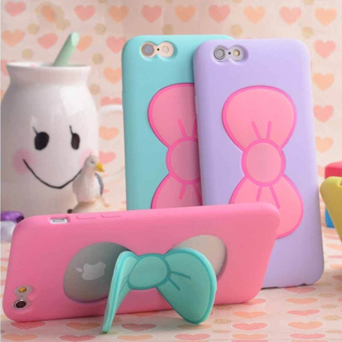 3D Bow-knot Phone Case For iPhone 7 6S 5 5S 4 4S Plus Soft Silicon Case with Stand Holder
