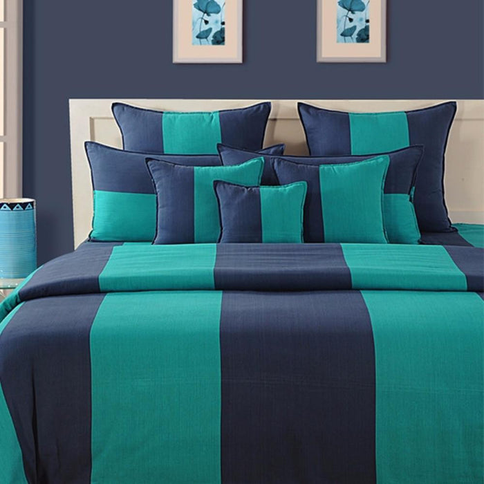 BLUE STRIPED DUVET COVER SET