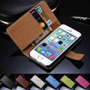 Leather Case for iPhone 5 5S SE Black Brown White Flip Stand Design Phone Cover Wallet with Card Slot - Flickdeal.co.nz