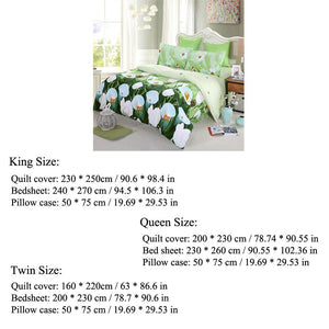 4pcs 3D Bedding Set - Queen/King/Twin Size Duvet Cover+Bed Sheet+2 Pillowcases - Flickdeal.co.nz