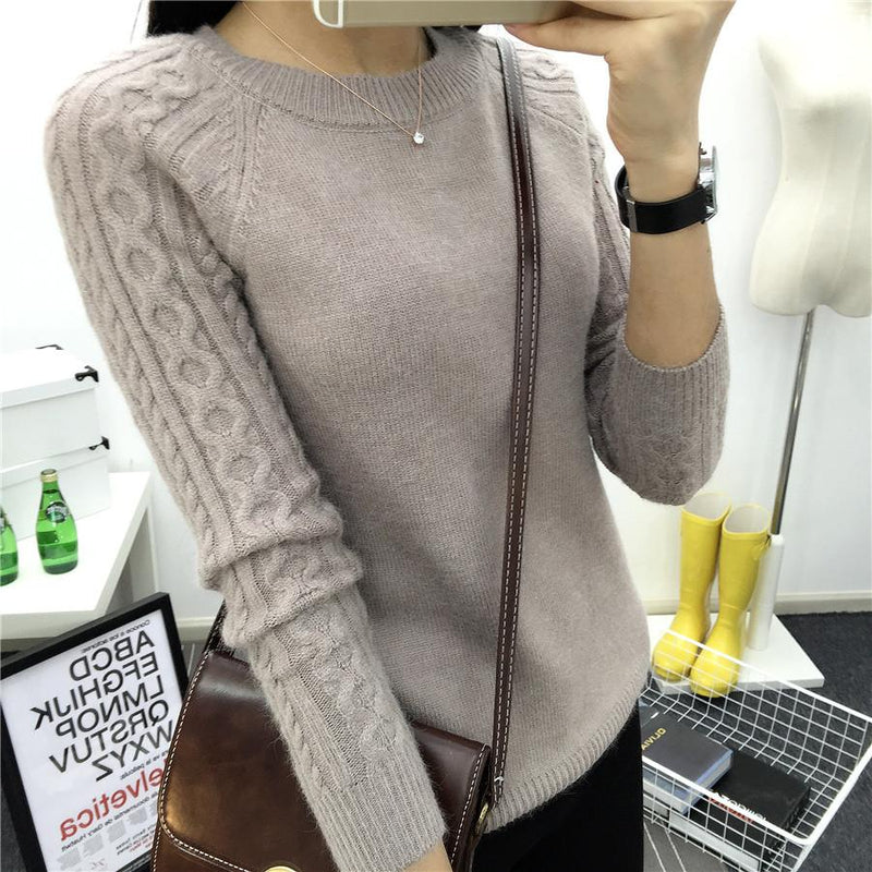 Cashmere Women Sweater - O-neck Twisted Flower Long Sleeve Pullovers - 5 Colors