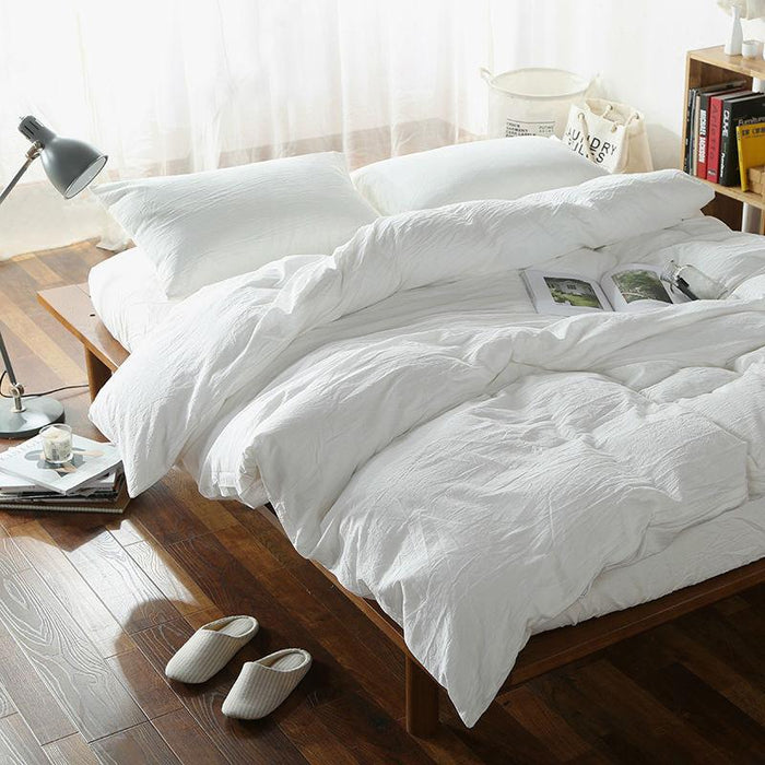 solid white cotton duvet cover set washed cotton Queen / Double / King Size bedding sets