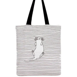 Casual Striped handbag Cute Cat Shoulder Bags for Women - Flickdeal.co.nz